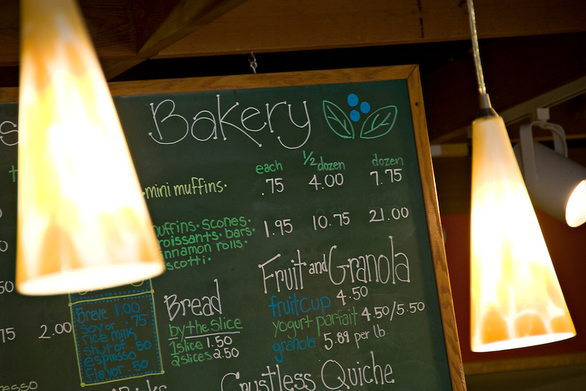 Menu board at Babycakes Muffin Company in downtown Marquette Michigan.