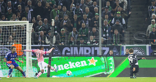 03.11.2015. Moenchengladbach, Germany, UEFA Champions League football group stages. Borussia Moenchangladbach versus Juventus.  The goal for 1-0 from Fabian Johnson (BMG) beats Gianluigi Buffon (Juve) and Patrice Evra (Juve)