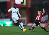 2nd December 2017, Griffen Park, Brentford, London; EFL Championship football, Brentford versus Fulham; Ryan Sessegnon of Fulham runs passed Sergi Canos of Brentford