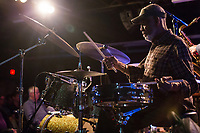 Victor Lewis plays the drums with the Ethan Iverson Trio and Joshua Redman for Thelonious Monk's 100th birthday during the Monk @ 100 festival at the Durham Fruit and Produce Company in Durham, NC Wednesday, October 25, 2017. (Justin Cook for The New York Times)