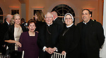 """020318MK06 (from left) Archdiocese of Hartford's Valerie Mara, Marie Maynard, Archbishop Leonard Blair, Sister Mariette Moan and Father Jeffery Romans  recently gathered at the Saint Mary's Hospital Foundation held its 27th Annual Gala, """"A Night at Studio 54,"""" at the Aqua Turf Club in Plantsville. Michael Kabelka Republican - American."""