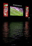 16 June 2006: A large television is floated in the Main River allowing fans at FIFA Fan Fest to watch games for free in Frankfurt, site of several games during the FIFA 2006 World Cup.