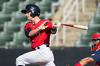 Grant Massey (28) of the Kannapolis Intimidators follows through on his swing against the Hagerstown Suns at Kannapolis Intimidators Stadium on June 14, 2017 in Kannapolis, North Carolina.  The Intimidators defeated the Suns 4-1 in game one of a double-header.  (Brian Westerholt/Four Seam Images)