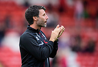 Lincoln City manager Danny Cowley applauds the fans during the pre-match warm-up<br /> <br /> Photographer Chris Vaughan/CameraSport<br /> <br /> The Carabao Cup Second Round - Lincoln City v Everton - Wednesday 28th August 2019 - Sincil Bank - Lincoln<br />  <br /> World Copyright © 2019 CameraSport. All rights reserved. 43 Linden Ave. Countesthorpe. Leicester. England. LE8 5PG - Tel: +44 (0) 116 277 4147 - admin@camerasport.com - www.camerasport.com