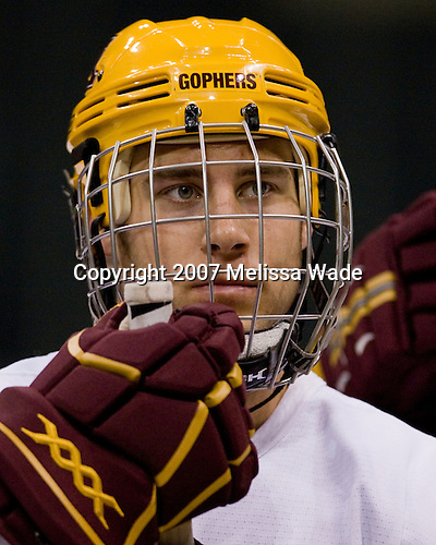 Justin Bostrom (Minnesota 14) takes part in the Gophers' morning skate at the Xcel Energy Center in St. Paul, Minnesota, on Friday, October 12, 2007, during the Ice Breaker Invitational.