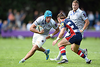 Zach Mercer of Bath Rugby in possession. Pre-season friendly match, between Bristol Rugby and Bath Rugby on August 12, 2017 at the Cribbs Causeway Ground in Bristol, England. Photo by: Patrick Khachfe / Onside Images