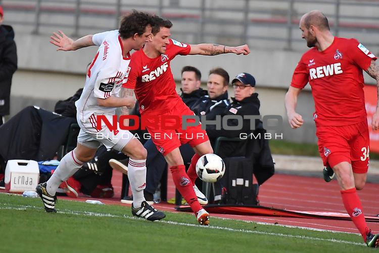 23.03.2017, BELKAWarena, Bergisch Gladbach , GER, FSP, Testspiel, SV Bergisch Gladbach 09 (MRL) vs. 1. FC K&ouml;ln ( 1.FBL) <br /> <br /> im Bild / picture shows: <br /> Andreas Dreiner (Bergisch Gladbach #2),im Zweikampf gegen Simon Zoller (1. FC Koeln #11), re Konstantin Rausch (1. FC Koeln #34), unter den kritischen Augen von Peter St&ouml;ger / Stoeger (Trainer Koeln),<br /> <br /> <br /> <br /> Foto &copy; nordphoto / Meuter
