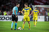 14th September 2017, Red Star Stadium, Belgrade, Serbia; UEFA Europa League Group stage, Red Star Belgrade versus BATE; Forward Vitali Rodionov of FC BATE Borisov talks with the referee during the match