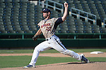 May 23, 2014; Stockton, CA, USA; Pepperdine Waves pitcher Aaron Brown (27) during the WCC Baseball Championship at Banner Island Ballpark.