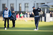 6th October 2017, Carnoustie Golf Links, Carnoustie, Scotland; Alfred Dunhill Links Championship, second round; Former Liverpool and England footballer Jamie Redknapp tees off on the first hole during the second round at the Alfred Dunhill Links Championship on the Championship Links, Carnoustie