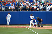 Stuart Fairchild (4) of the Wake Forest Demon Deacons at bat against the \ffg\ in Game Two of the Gainesville Super Regional of the 2017 College World Series at Alfred McKethan Stadium at Perry Field on June 11, 2017 in Gainesville, Florida.  (Brian Westerholt/Four Seam Images)