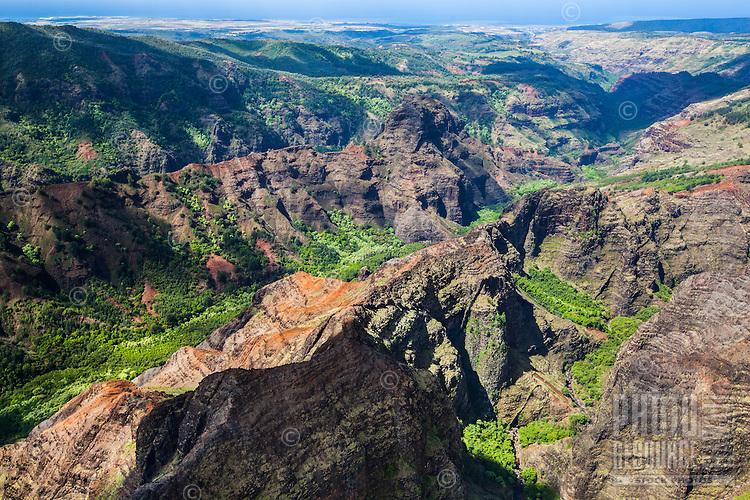 An aerial perspective of Waimea Canyon, Kaua'i.