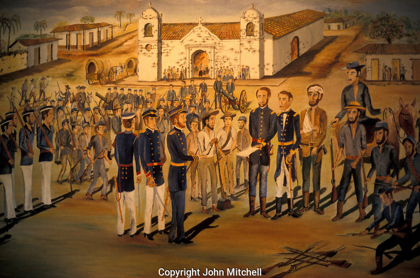 Painting showing American filibuster William Walker surrendering to Costa Rican forces in 1856 in the town of Rivas, Nicaragua