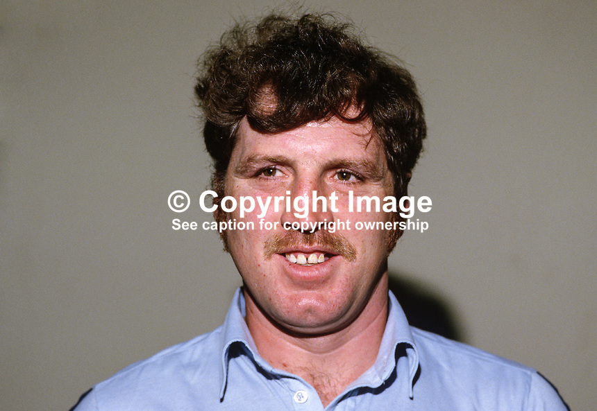 Fred McMullan, Ballycastle, N Ireland, international darts player, 19850028FMM2..Copyright Image from Victor Patterson, 54 Dorchester Park, Belfast, UK, BT9 6RJ..Tel: +44 28 9066 1296.Mob: +44 7802 353836.Voicemail +44 20 8816 7153.Skype: victorpattersonbelfast.Email: victorpatterson@mac.com.Email: victorpatterson@ireland.com (back-up)..IMPORTANT: If you wish to use this image or any other of my images please go to www.victorpatterson.com and click on the Terms & Conditions. Then contact me by email or phone with the reference number(s) of the image(s) concerned.