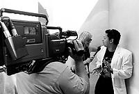 Montreal (Qc) CANADA - July 1992 File Photo - Juste Pour Rire Festival -  - Normand Brathwaite backstage interview.