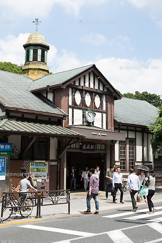 A general view of Harajuku Station on June 10, 2016, Tokyo, Japan. East Japan Railway Co. announced on June 8 plans to rebuild the almost century-old Harajuku Station with the project set to be completed in time for the 2020 Olympic Games. The current wooden structure is believed to be the oldest wooden station building in Tokyo and was build in 1924 with an European architectural style, and the new station will be larger with an extra platform and a new gate on the west side. It has not yet been decided if the old structure will also be preserved as part of the project. JR East also plans to reform Chuo-Sobu Line's Sendagaya and Shinanomachi  stations in time for the 2020 Games at a total cost of 250 billion yen (2.3 billion USD) for the whole project. (Photo by Rodrigo Reyes Marin/AFLO)