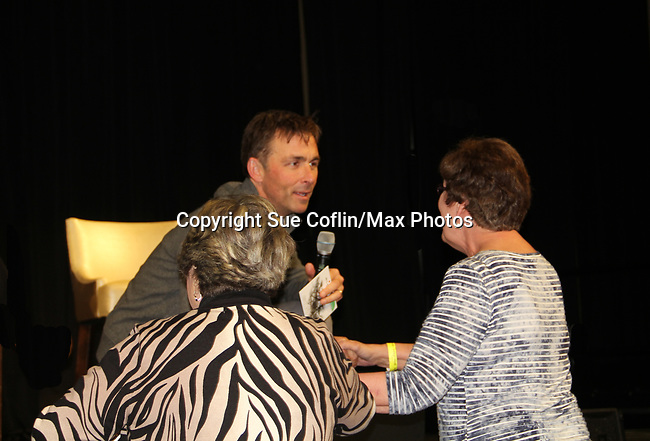 General Hospital's actor James Patrick Stuart chats with a fan on October 5, 2019 at the Hollywood Casino, Columbus, Ohio with a Q & A and a VIP meet and greet. (Photo by Sue Coflin/Max Photo)