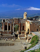 Italy, Sicily, Taormina: Greek Theatre and volcano Etna
