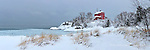 Marquette Lighthouse Winter Landscape Panorama