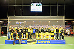 Berlin, Germany, February 01: During the prize giving ceremony for the Deutsche Meister Harvestehuder THC of 1. Bundesliga Herren  Hallensaison 2014/15 February 1, 2015 at the Final Four tournament at Max-Schmeling-Halle in Berlin, Germany. (Photo by Dirk Markgraf / www.265-images.com) *** Local caption ***