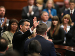 Gov. Brian Sandoval waves to the standing-room-only crowd following his State of the State address at the Legislative Building in Carson City, Nev., on Thursday night, Jan. 15, 2015. (Las Vegas Review-Journal/Cathleen Allison)