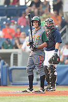 Brian Carroll (8) of the Boise Hawks bats during a game against the Hillsboro Hops at Ron Tonkin Field on August 22, 2015 in Hillsboro, Oregon. Boise defeated Hillsboro, 6-4. (Larry Goren/Four Seam Images)