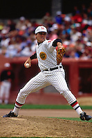SAN FRANCISCO, CA - John Burkett of the San Francisco Giants pitches during a turn back the clock game against the Chicago Cubs at Candlestick Park in San Francisco, California on June 23, 1991. (Photo by Brad Mangin)