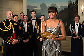 First Lady Michelle Obama announces the Best Picture Oscar to Argo live from the Diplomatic Room of the White House, February 24, 2013..Mandatory Credit: Pete Souza - White House via CNP