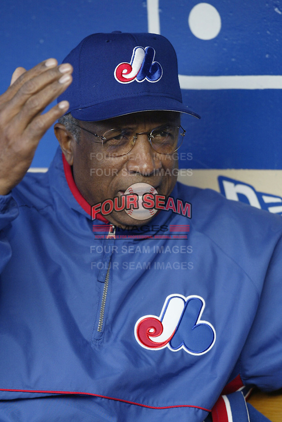 Montreal Expos Manager Frank Robinson before a 2002 MLB season game  against the Los Angeles Dodgers at Dodger Stadium, in Los Angeles, California. (Larry Goren/Four Seam Images)