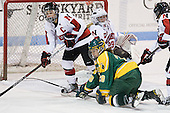 Dani Rylan (Northeastern - 2), Danielle Skirrow (Clarkson - 28), Chloe Desjardins (Northeastern - 29) - The Northeastern University Huskies defeated the visiting Clarkson University Golden Knights 5-2 on Thursday, January 5, 2012, at Matthews Arena in Boston, Massachusetts.