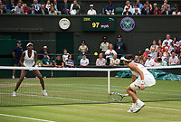 Garbine Muguruza (14) of Spain in action during her victory over Venus Williams of United States in their Ladies' Singles Final today - Muguruza def Williams 7-5, 6-0<br /> <br /> Photographer Ashley Western/CameraSport<br /> <br /> Wimbledon Lawn Tennis Championships - Day 12 - Saturday 15th July 2017 -  All England Lawn Tennis and Croquet Club - Wimbledon - London - England<br /> <br /> World Copyright &not;&copy; 2017 CameraSport. All rights reserved. 43 Linden Ave. Countesthorpe. Leicester. England. LE8 5PG - Tel: +44 (0) 116 277 4147 - admin@camerasport.com - www.camerasport.com