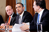 Washington, DC - November 3, 2009 -- United States President Barack Obama flanked by President of the European Commission JosÈ Manuel Barroso(R) and Swedish Prime Minister Fredrik Reinfeldt(L), speaks at the U.S.-European Union Summit in the Cabinet Room at the White House, Tuesday, November 3, 2009 in Washington, DC..Credit: Olivier Douliery / Pool via CNP