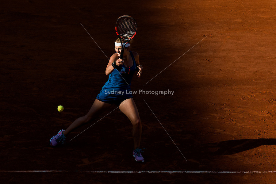 June 4, 2015: Timea Bacsinszky of Switzerland in action in a Semifinal match against Serena Williams of United States of America on day twelve of the 2015 French Open tennis tournament at Roland Garros in Paris, France. Williams won 46 63 60. Sydney Low/AsteriskImages