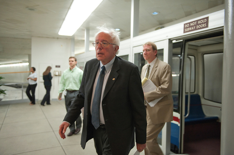 UNITED STATES - JUNE 30: Bernard Sanders, I-VT., enters the U.S. Capitol from the Senate subway June 30, 2011. (Photo By Douglas Graham/Roll Call)