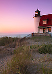 Benzie County, MI: Point Betsie Lighthouse (1858) at dusk on Lake Michigan