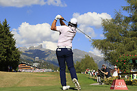 Gavin Green (MAS) tees off the 18th tee during Sunday's Final Round 4 of the 2018 Omega European Masters, held at the Golf Club Crans-Sur-Sierre, Crans Montana, Switzerland. 9th September 2018.<br /> Picture: Eoin Clarke | Golffile<br /> <br /> <br /> All photos usage must carry mandatory copyright credit (&copy; Golffile | Eoin Clarke)