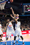 Real Madrid's players Augusto Lima, KC Rivers and Estudiantes's player Xavi Rey during La Liga Endesa at Barclaycard Center in Madrid, February 07, 2016<br /> (ALTERPHOTOS/BorjaB.Hojas)