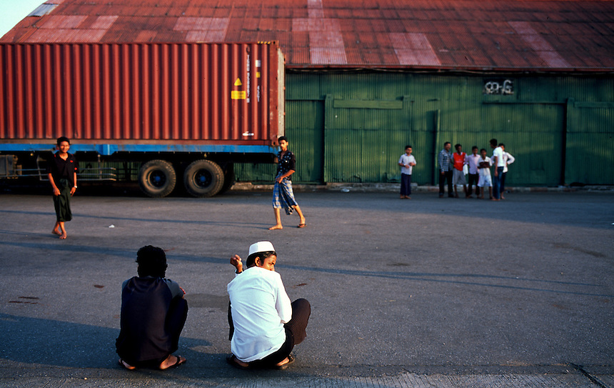 Young men at the Yangon docks, Burma/Myanmar, November 2010. Photo: Ed Giles.