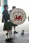 LONDON, ENGLAND - MARCH 29: A Welsh band greets fans arriving ahead of the FA Trophy Final ahead of the FA Carlsberg Trophy Final 2015 at Wembley Stadium on March 29, 2054 in London, England. (Photo by David Horn/EAP)