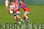 Garreth Hicky-Brosnan (Pobalscoil Chorca Dhuibhne) in action with Rob Leen (KIC) on Wednesday in the Colleges un 16 1/2 Semi Final at Austin Stack GAA Club, Connolly Park, Tralee.