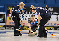 Glasgow. SCOTLAND.  Scotland&quot;s Lauren GRAY, Releases the &quot;Stone&quot; during  the &quot;Round Robin&quot; Game.  Scotland vs Russia,  Le Gruy&egrave;re European Curling Championships. 2016 Venue, Braehead  Scotland<br /> Thursday  24/11/2016<br /> <br /> [Mandatory Credit; Peter Spurrier/Intersport-images]