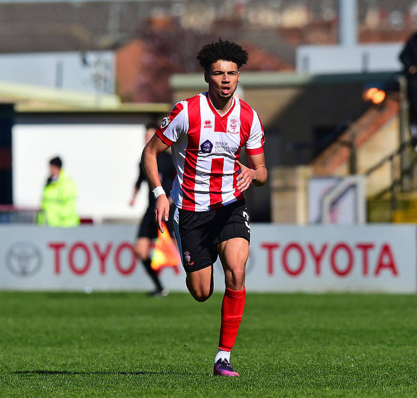 Lincoln City's Lee Angol<br /> <br /> Photographer Andrew Vaughan/CameraSport<br /> <br /> Vanarama National League - Lincoln City v Forest Green Rovers - Saturday 25th March 2017 - Sincil Bank - Lincoln<br /> <br /> World Copyright &copy; 2017 CameraSport. All rights reserved. 43 Linden Ave. Countesthorpe. Leicester. England. LE8 5PG - Tel: +44 (0) 116 277 4147 - admin@camerasport.com - www.camerasport.com