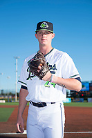Hillsboro Hops pitcher Harrison Francis (24) poses for a photo before a Northwest League game against the Salem-Keizer Volcanoes at Ron Tonkin Field on September 1, 2018 in Hillsboro, Oregon. The Salem-Keizer Volcanoes defeated the Hillsboro Hops by a score of 3-1. (Zachary Lucy/Four Seam Images)