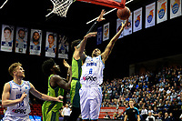 GRONINGEN - Basketbal, Donar - Dinamo Sassari, Martiniplaza, Europe Cup, seizoen 2018-2019, 12-12-2018,  Donar speler Jason Dourisseau onder de basket