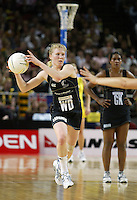 Silver Ferns Laura Langman in action during the netball test match between the Silver Ferns v Australia played at the Sydney Superdome, Sydney Australia, 29th June 2005. The Silver Ferns won 50-43. ©Michael Bradley