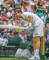 London, England, 3 th July, 2017, Tennis,  Wimbledon, Alexander Bublik (KAZ) in his openings match against Andy Murray (GBR)<br /> Photo: Henk Koster/tennisimages.com