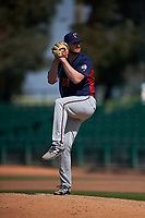 Lancaster JetHawks relief pitcher Bryan Baker (33) delivers a pitch during a California League game against the Inland Empire 66ers at San Manuel Stadium on May 20, 2018 in San Bernardino, California. Inland Empire defeated Lancaster 12-2. (Zachary Lucy/Four Seam Images)