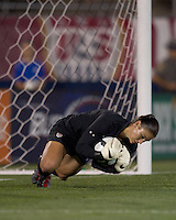 US goalkeeper Hope Solo (1) works to preserve her shutout. The US Women's national team beat Sweden, 3-0, at Rentschler Field on July 17, 2010.