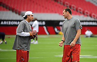 Aug. 22, 2009; Glendale, AZ, USA; Arizona Cardinals quarterback Tyler Palko (left) talks with punter Ben Graham against the San Diego Chargers during a preseason game at University of Phoenix Stadium. Mandatory Credit: Mark J. Rebilas-