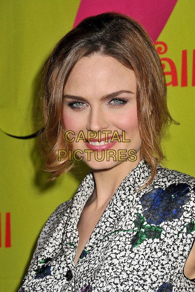 EMILY DESCHANEL.FOX Fall 2009 Eco-Casino Party held at BOA Steakhouse, West Hollywood, California, USA..September 14th, 2009.headshot portrait black white pattern print .CAP/ADM/BP.©Byron Purvis/AdMedia/Capital Pictures.